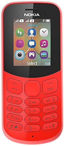 Nokia 130 Mobiltelefon (VGA Kamera, Bluetooth, extra lange Akkulaufzeit, Radio- und MP3 Player, Taschenlampe, Wecker, Dual Sim) rot, version 2018 - Bluetooth-mp3-handy