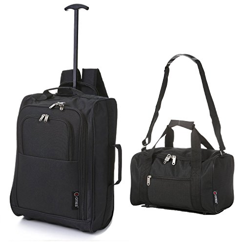 5-cities-trolley-backpack-cabin-and-ryanair-second-bag-hand-luggage-54-cm-14-litre-black