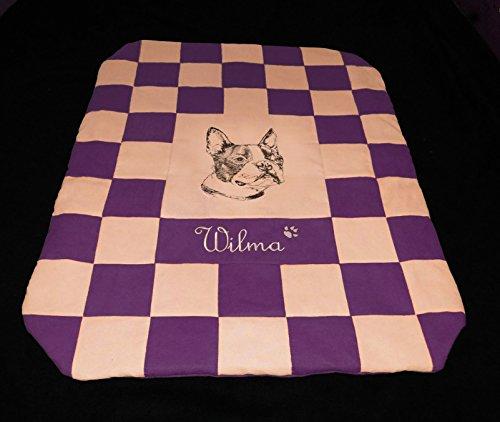 LunaChild Hundedecke Boston Terrier 2 violett beige Hundebett Sofadecke Größe S M L oder XL in 14 Farben erhältlich (Wildleder Boston Bag)