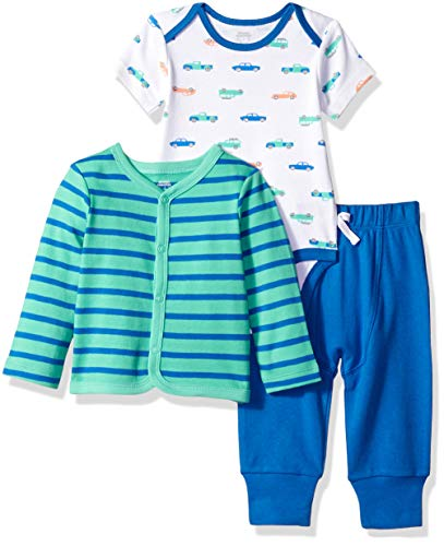 Amazon Essentials 3-Piece Cardigan infant-and-toddler-layette-sets, Boy Car, 24M Baby Boy Layette Set