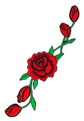 Rote Rosen mit wunderschönem Blumenmuster Cartoon Zeichen Hippie Retro Biker Jacket T-shirt Vest Patch Sew Iron on gesticktes Badge Custom -
