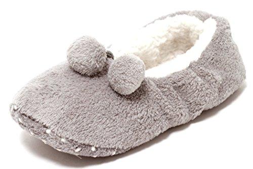 Kuschel Hausschuhe Plüsch Ballerina Hauspuschen Home Slipper warm GRAU WEISS mit Pompoms Gr. 35-42 Mädchen Damen (39-42)