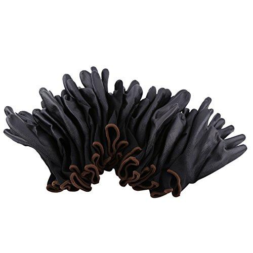 Nylon PU Innenhand Arbeitshandschuhe PU-beschichtet Handschuhe Werkstatt nudillo Gaza-Beschichtung schwarz gelb/rot/blau S/M/L optional Größe, Groß, 1