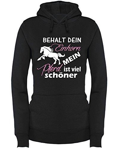 Behalt dein Einhorn mein Pferd ist viel schöner - Damen Hoodie Schwarz/Weiss-rosa