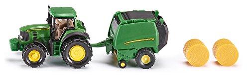Siku - 1665 - Véhicule Miniature - Modèle À L'Échelle - Tracteur John Deere Avec Presse À Ballots - Echelle 1/64 0742359311559