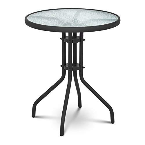 Uniprodo Table De Jardin en Verre Ronde Métal Mobilier ...