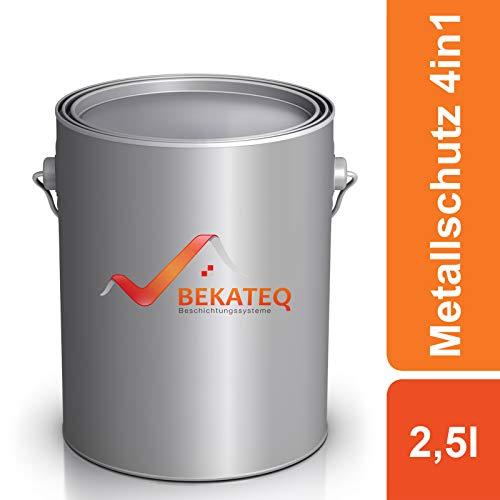 Bekateq Metallschutzlack 4in1 LS-570 RAL3000 Feuerrot, 2,5L, seidenmatt, Grundierung, Rostschutz, Zwischenanstrich und Deckanstrich in einem