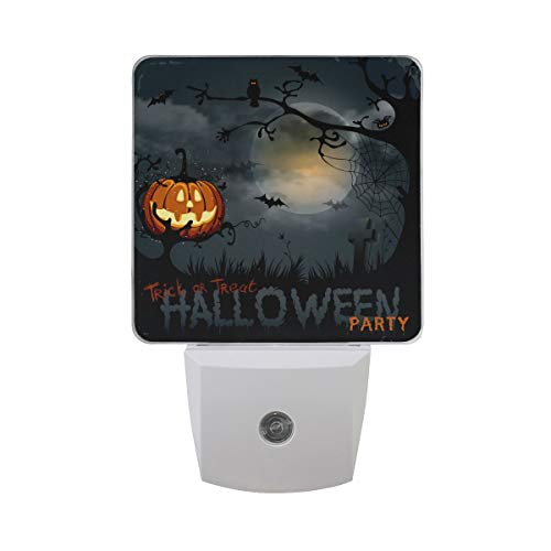 DFISKK Nachtlicht Set of 2 Horror Halloween Party Scary Pumpkin Full Moon Bat Owl in Branch Spider and Web Tombstone Trick Or Treat Auto Sensor LED Dusk to Dawn Night Light Plug in Indoor for Adults (Für Tombstone-angebote Halloween)