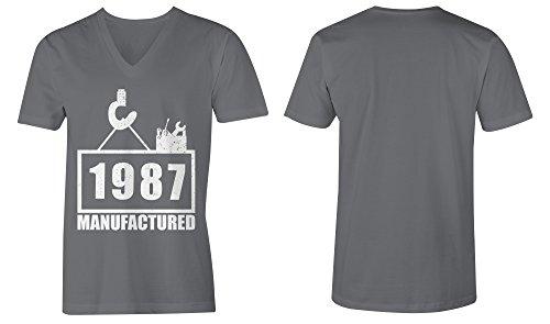 Manufactured 1987 - V-Neck T-Shirt Männer-Herren - hochwertig bedruckt mit lustigem Spruch - Die perfekte Geschenk-Idee (06) dunkelgrau