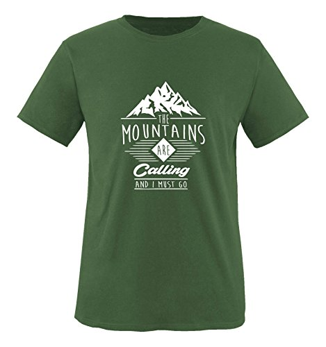 Comedy Shirts - The mountains are calling and i must go - Herren T-Shirt - Oliv / Weiss Gr. L