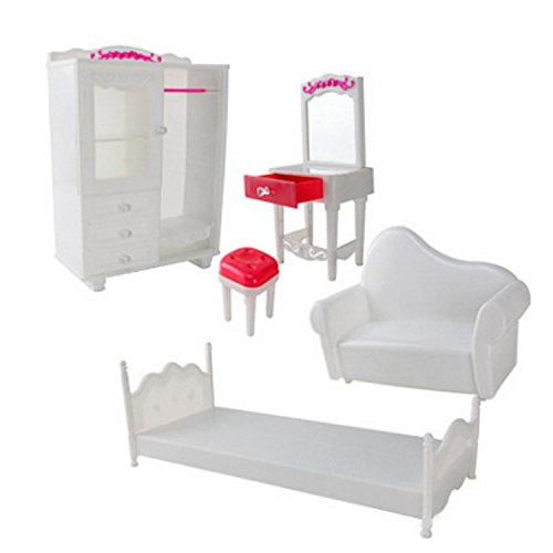 Beetest 5 PCS Doll Furniture Accessories Kit Armario Dresser Silla Sofá Cama Accesorios para Barbie Juguetes Niños Niñas Cumpleaños Regalo de Navidad