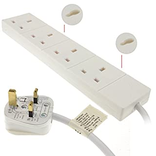 kenable 4 Gang Way UK 13A Trailing Socket Mains Power Extension Lead White 15m