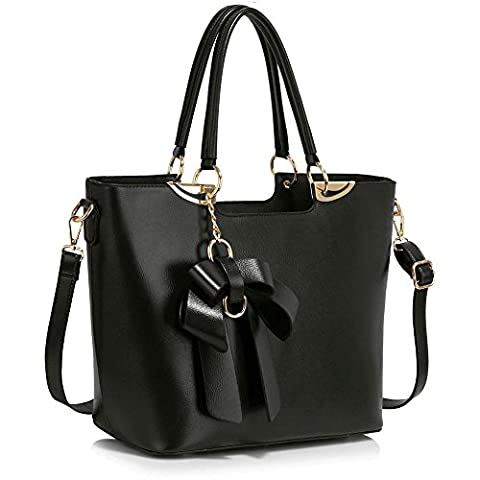 New Womens Designer Bags Ladies Fashion Handbags Tote Patent Shoulder Faux Leather Celebrity Style (A - Black)