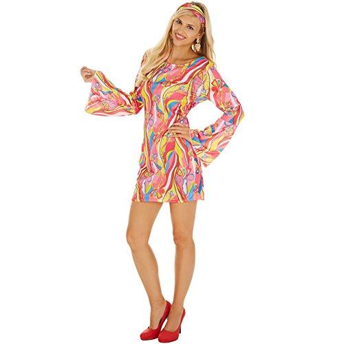 TecTake dressforfun Frauenkostüm Discostar | Farbenfrohes, kurzes Kleid inklusive Haarband (S | Nr. - Sexy Disco Kostüm