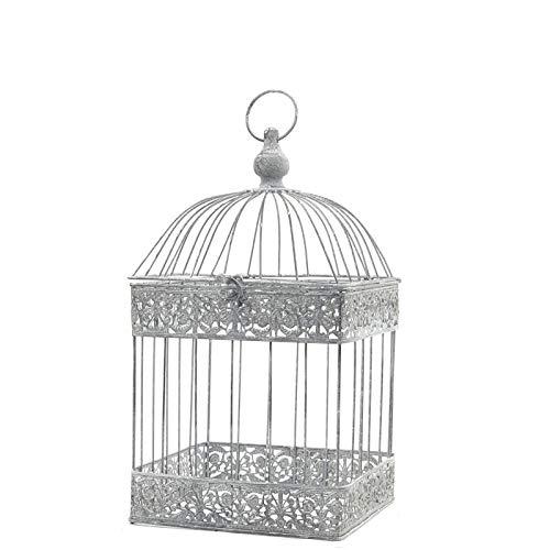 chemin_de_campagne Cage à Oiseaux Carré Gris Fer de Décoration 47 cm x 24 cm x 24 cm