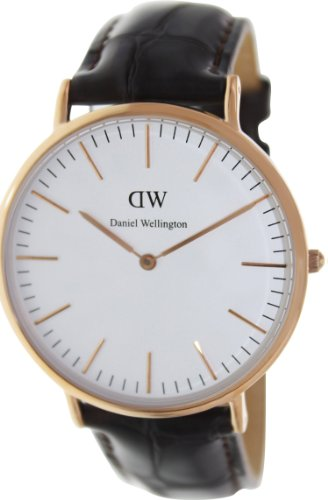 Daniel Wellington Men's York 0111DW Brown Leather Quartz Watch with White Dial