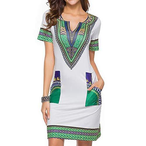 Kemosen Casual V Col Robe Svelte De Bohême Tunique Chemise Robe D'Été Cravate Vintage Imprimé Robe Style Ethnique - Gris/Blanc/Vert - Taille M