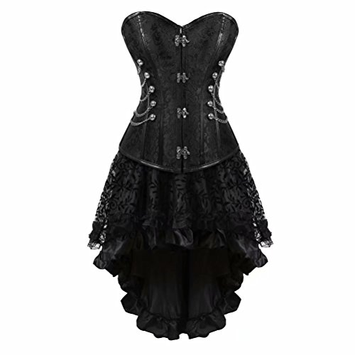Bustino Steampunk Donna in Pizzo con Gonna Corsetto Pelle Burlesque Sexy Gothic Costumi Nero L