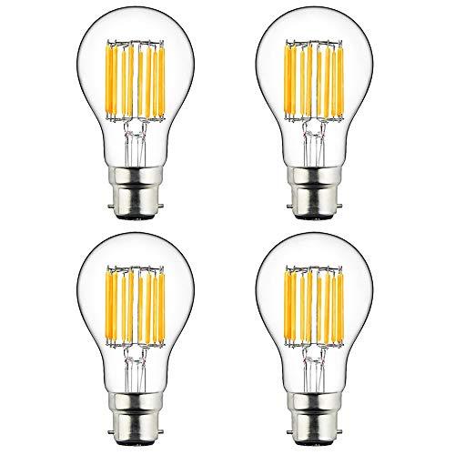 LuxVista 10W A60 B22 LED Glühbirne Warmweiß 2700K Bajonett Sockel entspricht 100W herkömmlichen Glühlampen (4-Stücke) (Bajonett-sockel)