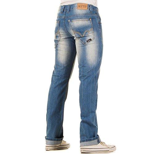 Herren Jeans, REGULAR FIT USED LOOK JEANS, KL-H-A079-1 Blau