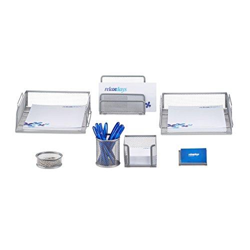 Relaxdays Schreibtisch Organizer Set, 7-teilig, Metall, Schreibtisch-Set, Briefablage, Zettelbox,...