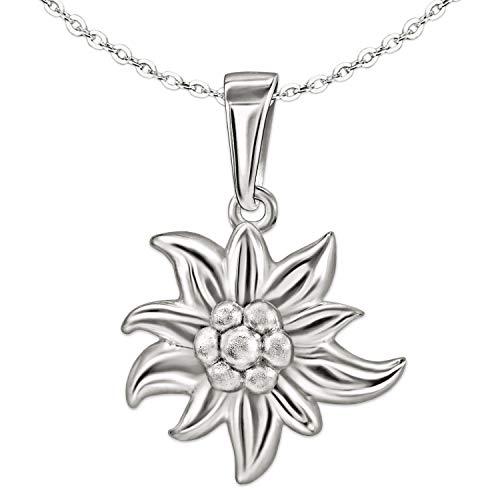 Clever Schmuck Set Silberner Damen Anhänger Edelweiß Blume 14 mm, schöne plastische Form, Blütenblätter glänzend und Kette Anker 45 cm STERLING SILBER 925 -