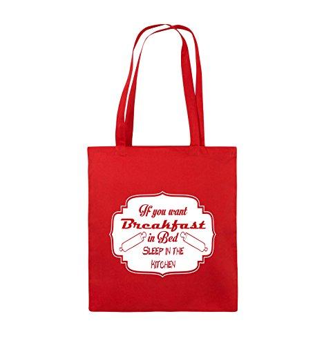 Comedy Bags - If you want Breakfast in Bed - KITCHEN - Jutebeutel - lange Henkel - 38x42cm - Farbe: Schwarz / Pink Rot / Weiss