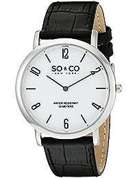 So y de Nueva York Madison Co para hombre reloj infantil de cuarzo con esfera analógica blanca y negro correa de piel 5043,1