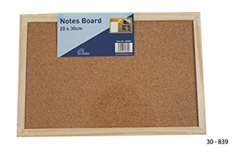 WOODEN FRAME CORK BOARD 30cm x 20cm - great for kids, kitchens, office, travel FREE DELIVERY