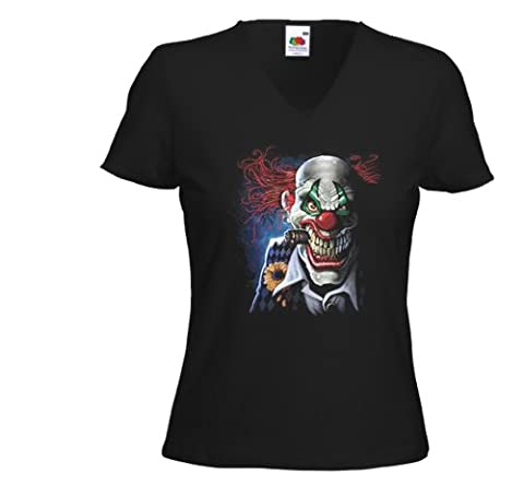 Fun femme T-Shirt Joker Clown Horror Movie Comic Tattoo Rockabilly Gr.XXL