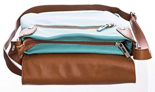 BHBS Damen Cross-Body-Tasche Mit Echtem Weichem Leder 23 x 26 cm (B x H) Orange (ST361)