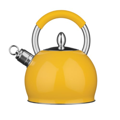 Premier Housewares 0505127 Caldaia di Fischio 2.4 L, Acciaio Inox, Giallo