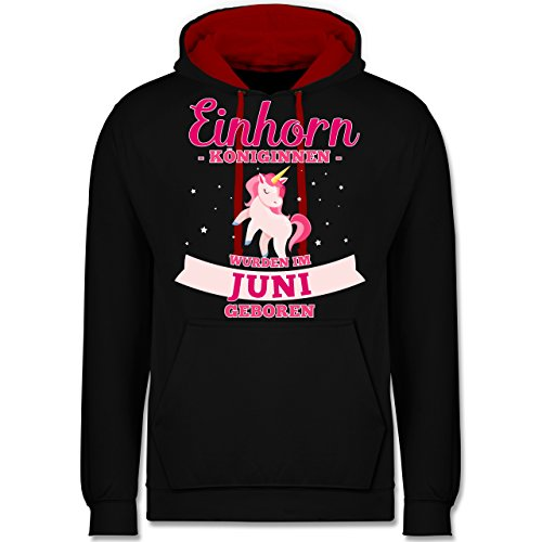 g - Einhorn Königinnen wurden im Juni geboren - M - Schwarz/Rot - JH003 - Kontrast Hoodie ()
