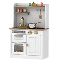 HOOGA Premium Chefs Large Childrens Kids Pretend Play Toy Wooden Kitchen White/Gold - HG19002W