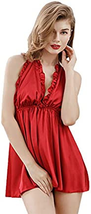 NICE Women's Babydoll With Single Neck Strap Satin Ladies Nightwear Short Nightskirt