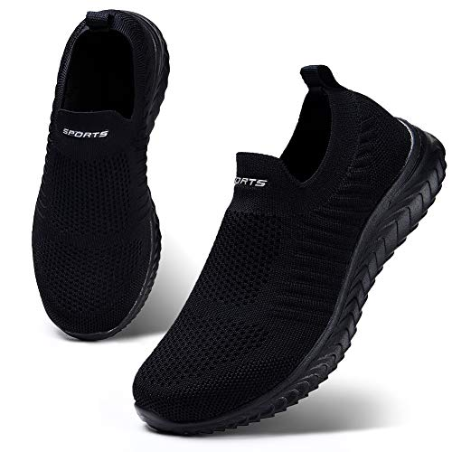 HKR Damen Slip On Sneakers Walkingschuhe Leichte Atmungsaktiv Freizeitschuhe Outdoor Gym Bequem Turnschuhe Schwarz 42 EU