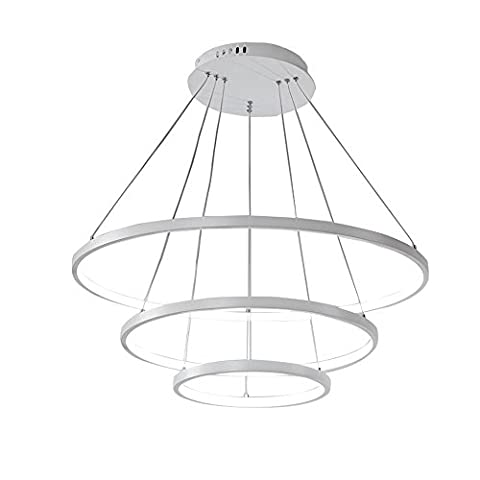 TOPQSC Modern Nature Warm LED Acrylic and Aluminum Pendant Light With 3 Rings LED Chandelier(Warm 20+40+60)