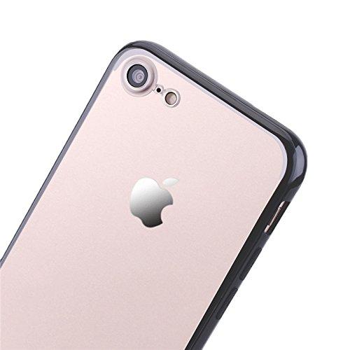 iPhone 7 Hülle, Yokata Harte Schrubben Case + Weich Silikon Rahmen Bumper Schutzhülle Dünne Case Cover Schwarz