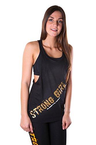 """Elemental Force Camiseta de fitness para mujer, camiseta de tirantes holgada, con lema """"Strong Girl"""" en dorado, color negro, tamaño L"""