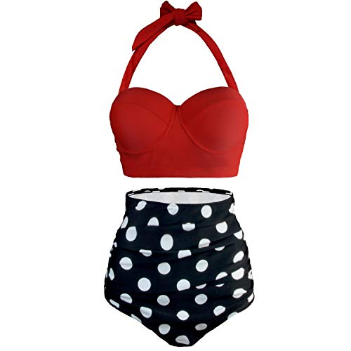 4d501980b00fad UPhitnis Damen Bikini Set Bademode Retro Stil Polka-Punkt Badeanzug mit  Hoher Taille Backless Badebekleidung Strandmode,Rot Gr.EU40-42(XL)