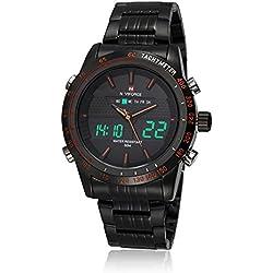 NAVIFORCE Mens Stainless Steel Sports Digital LED Military Quartz Wrist Watch Black Orange
