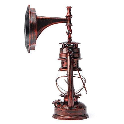SGWH Wandleuchte Vintage Rustikale Klassische Industrielle Wandleuchte Schmiedeeiserne Laterne 1 & times; E27 220V Retro Metall Kreative Lampe Wandleuchte Nachtlichter (Retro Rot) [Energieklasse A +] (Rustikale Schmiedeeiserne Lampen)