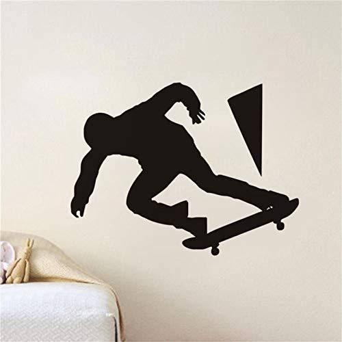 zhuziji Skateboard wasserdicht Vinyl Wandaufkleber Design zu Hause abnehmbare Kunst Wandtattoos für Turnhalle Wand Teen Schlafzimmer S112x88cm