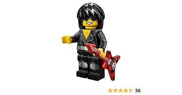Series 12 lego mini figure ROCK STAR with red guitar rocker