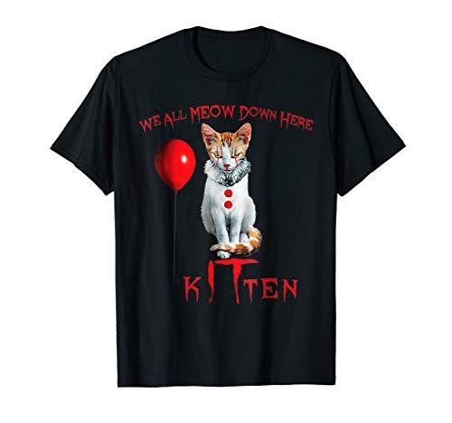 We All MEOW Down Here Clown Cat Kitten T-Shirt (Herren Crewneck Grafik T-shirt)