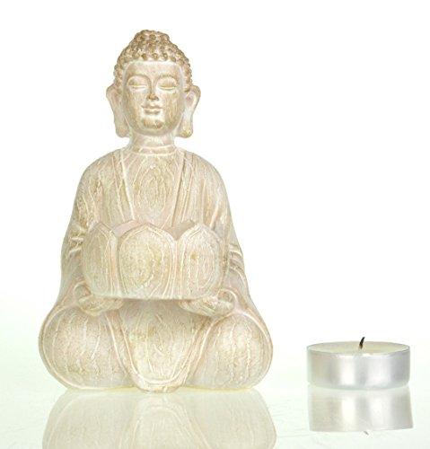 Buddha effetto pietra doppio Tealight Candle Holder, Ceramica, Natural, Single Tealight