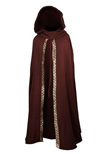 Mittelalterlicher Fleece Umhang mit Borte - wärmend - braun L130 (Poncho Gugel,)