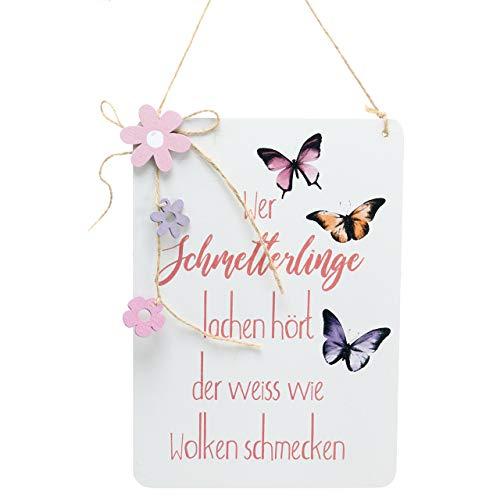 d mit Spruch Schmetterling 24cm x 17cm Frühling Kranz Türkranz Ostern Osterdekoration Willkommen von Florist ()