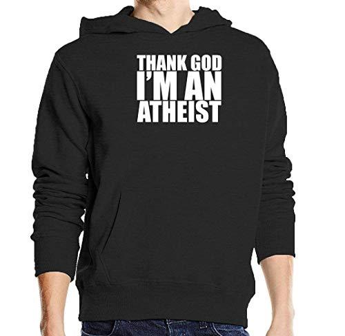 Thank God I'm An Atheist Funny Slogan Schwarz Unisex Pullover Hoodie L