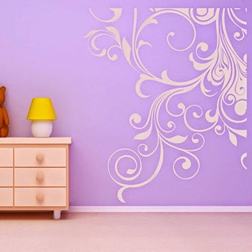 DeStudio Floral Corner Decoration Wall Decal, Size SMALL, Color YELLOW